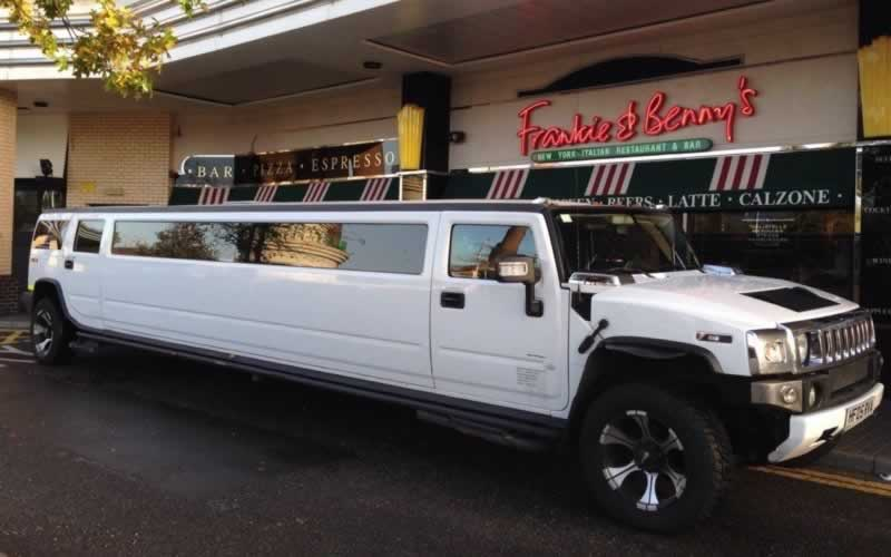 H2 Hummer Limo at Frankie & Benny's Kids Limo Party]