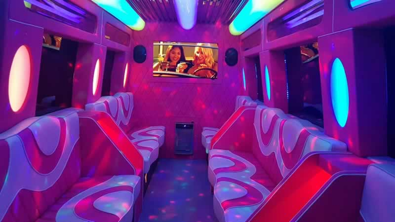 Interior of our pink Mercedes party bus
