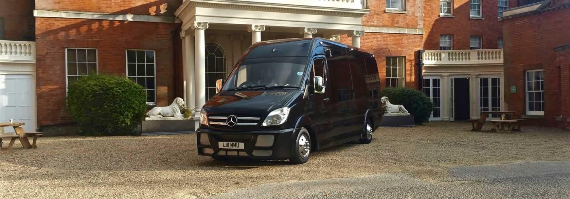 Black Mercedes party bus hire London